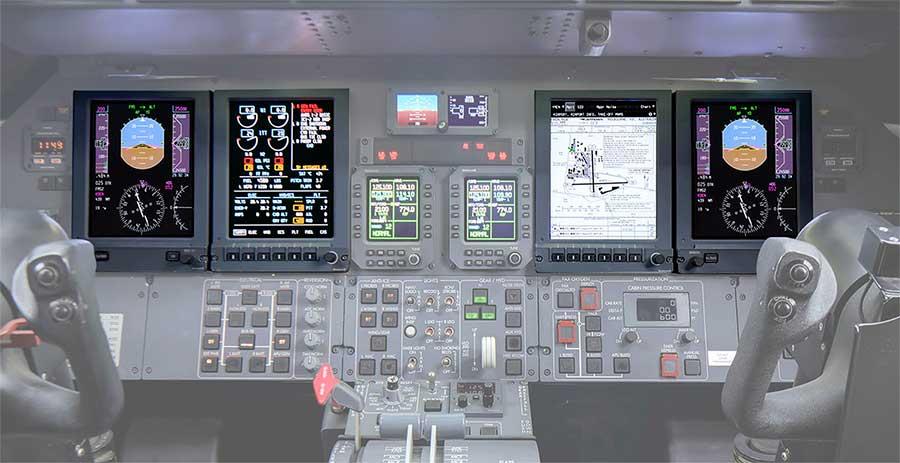 Learjet Flight Deck with DU-875 Displays
